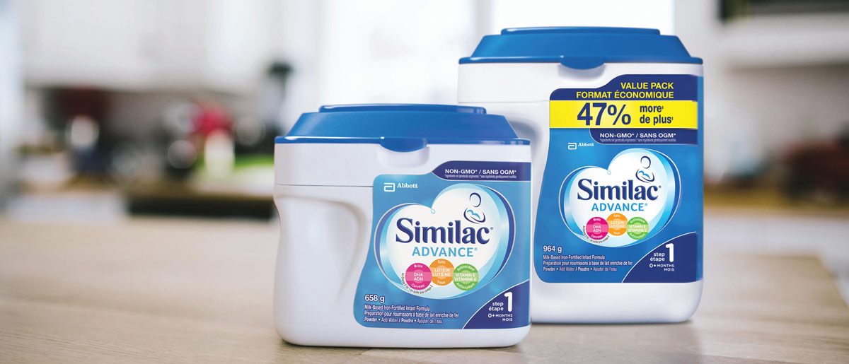Similac® Advance® Step 1 baby formula in 658g and value powder packs