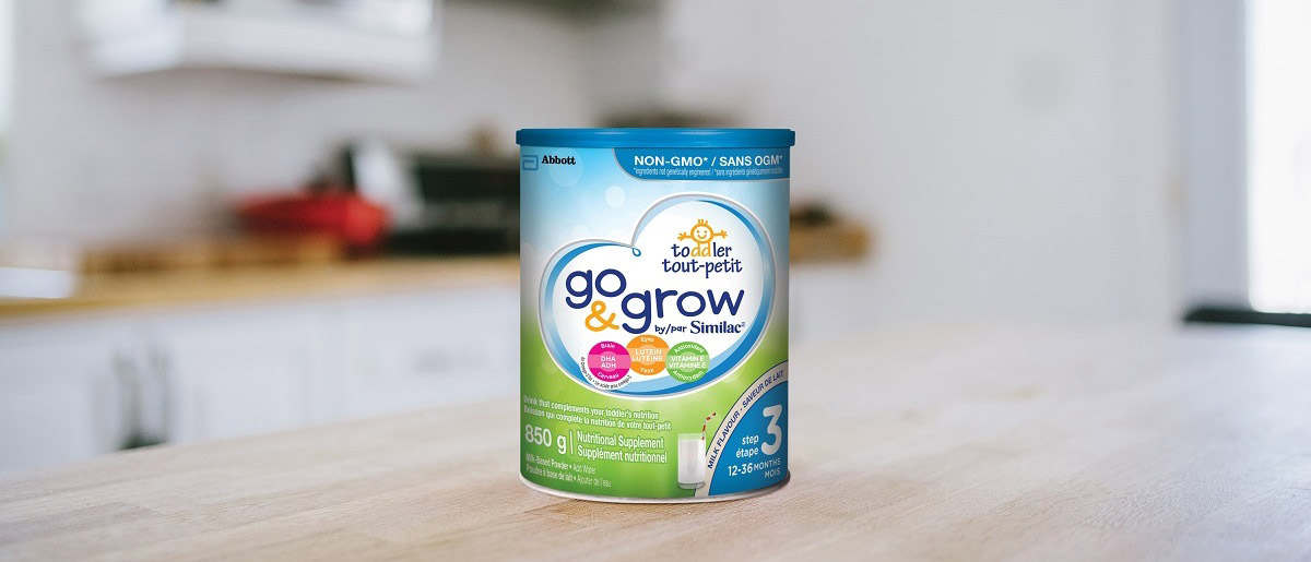 Go & Grow by Similac™ Step 3 product sitting on a kitchen counter